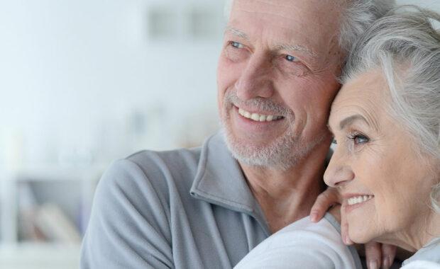 Elderly couple happy with senior care option